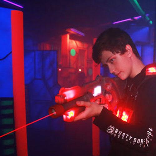 Teen Boy Playing Laser Tag